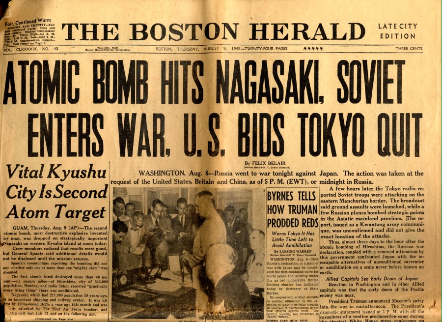 Cover of the Boston Herald newspaper announcing the atomic bombing of Nagasaki by U.S. forces.