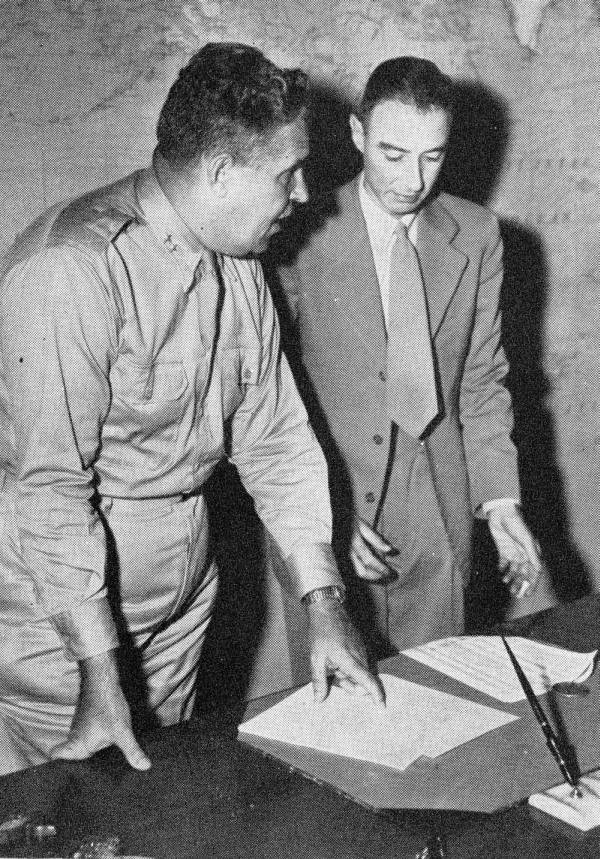 Leslie R. Groves and J. Robert Oppenheimer