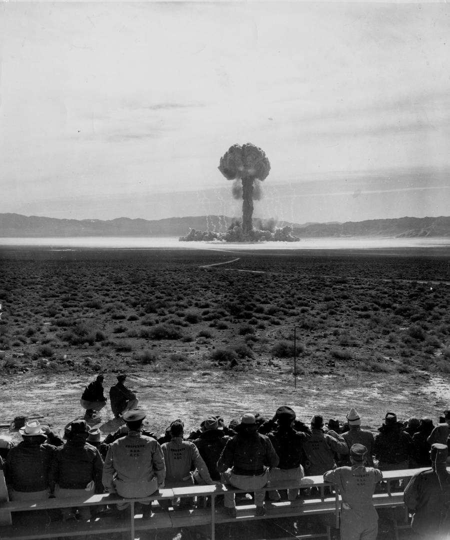 Detonation of an atomic shell by the United States Army, Yucca Flat, Nevada