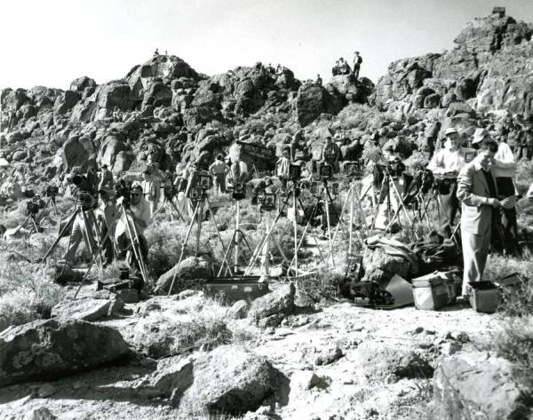 "Media members assembled at ""News Knob"" in anticipation of a nuclear weapons test, Yucca Flat, Nevada"