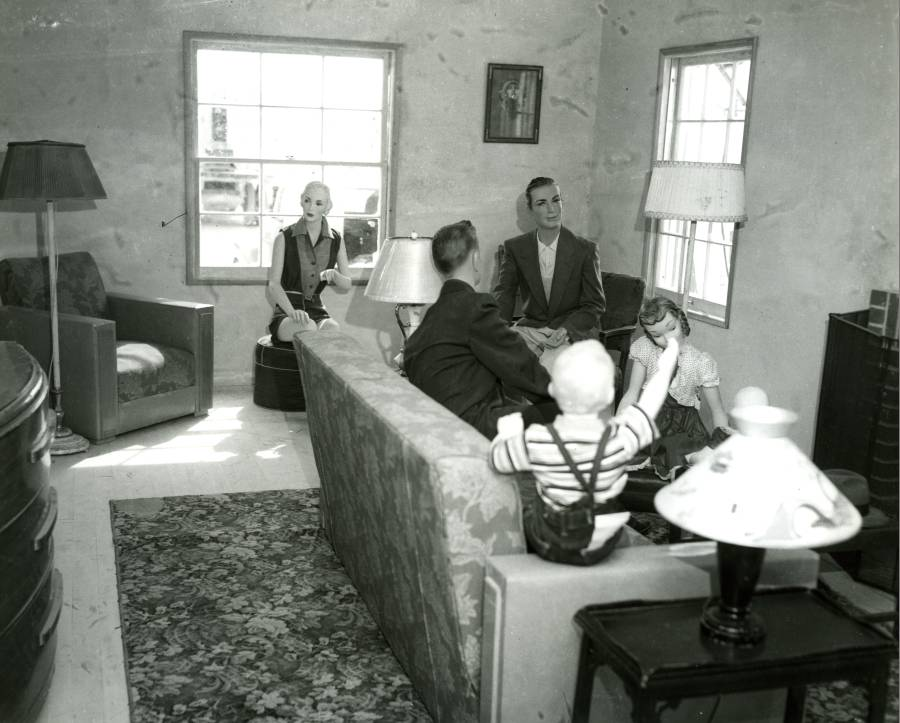 "The living room of ""House No. 2"" prior to an atomic weapons test, Nevada Proving Ground, Yucca Flat, Nevada."