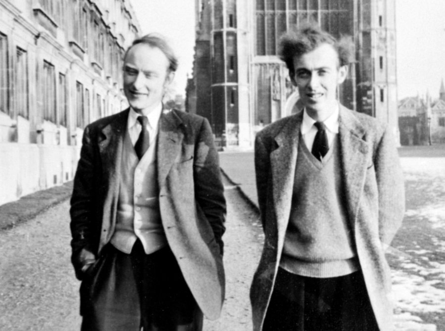 Francis Crick and James Watson, walking along the the Backs, Cambridge, England.