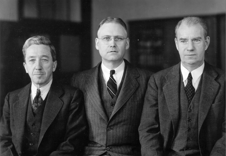 Members of the Tufts University Chemistry Department: Crosby F. Baker, Harris M. Chadwell and David E. Worrell.