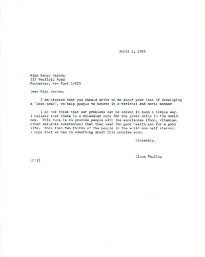 Letter from Linus Pauling to Nancy Deshon. Page 1. April 1, 1968