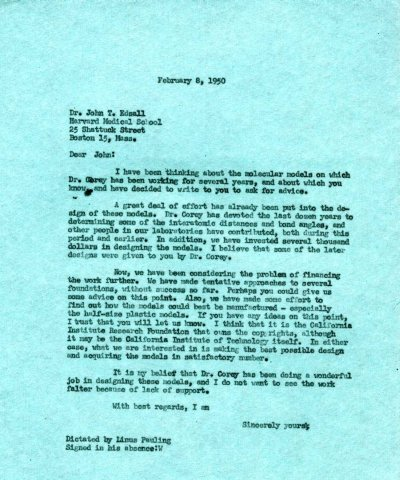 Letter from Linus Pauling to John Edsall. Page 1. February 8, 1950