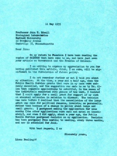Letter from Linus Pauling to John Edsall. Page 1. May 11, 1955