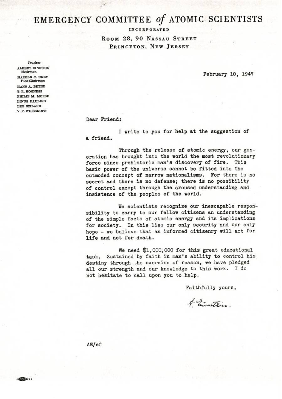 donor solicitation letter written by albert einstein  on