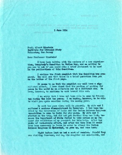 Letter from Linus Pauling to Albert Einstein.Page 1. June 1, 1954