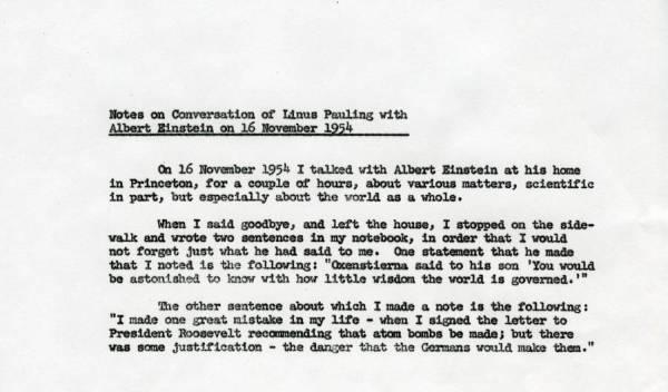 Linus Pauling Note to Self regarding a meeting with Albert Einstein.Page 1. November 16, 1954