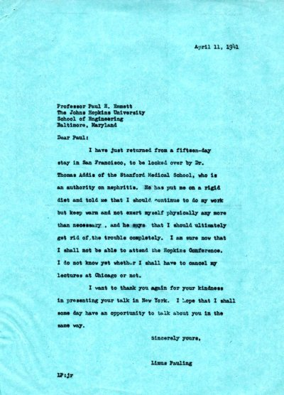 Letter from Linus Pauling to Paul Emmett. Page 1. April 11, 1941