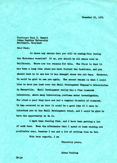 Letter from Linus Pauling to Paul Emmett. Page 1. December 16, 1941
