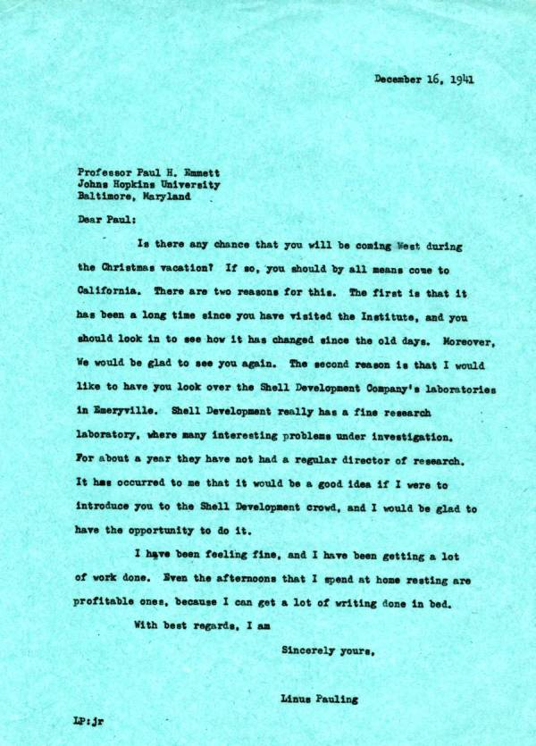 Letter from Linus Pauling to Paul Emmett.Page 1. December 16, 1941
