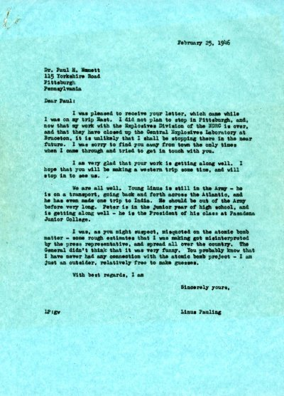 Letter from Linus Pauling to Paul Emmett.Page 1. February 25, 1946
