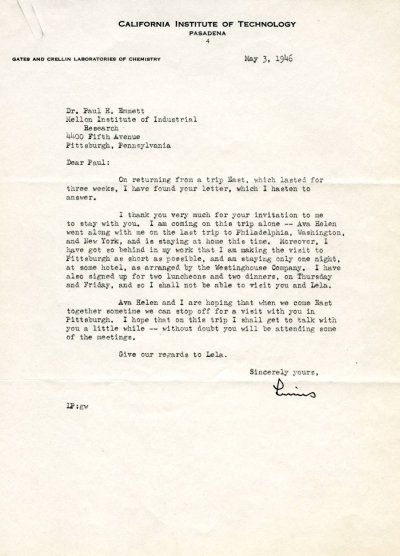 Letter from Linus Pauling to Paul Emmett. Page 1. May 3, 1946