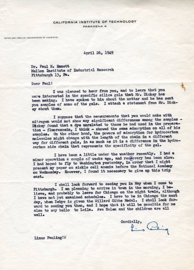 Letter from Linus Pauling to Paul Emmett. Page 1. April 26, 1949