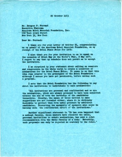 Letter from Linus Pauling to Jacques Ferrand. Page 1. October 29, 1963