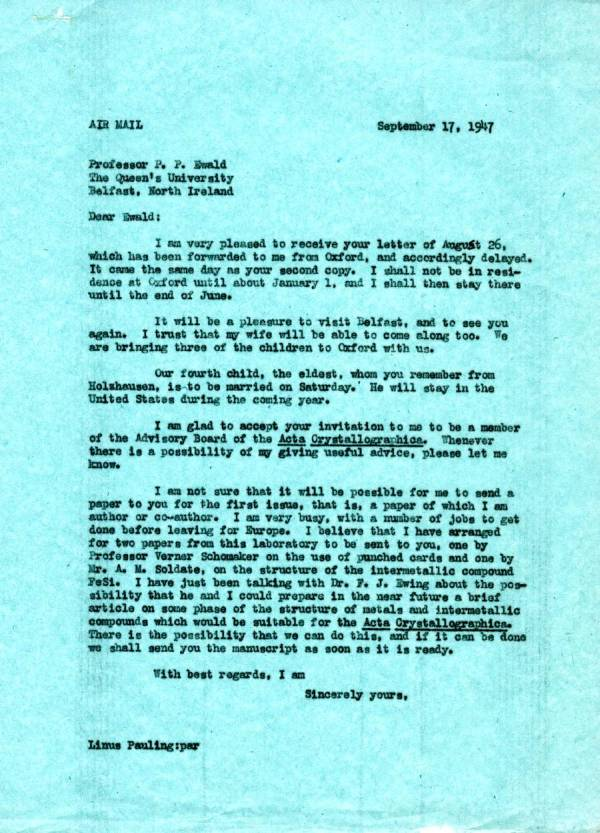 Letter from Linus Pauling to Paul Ewald. Page 1. September 17, 1947