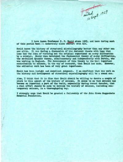 Letter from Linus Pauling to Henry Allen Moe. Page 1. September 10, 1959