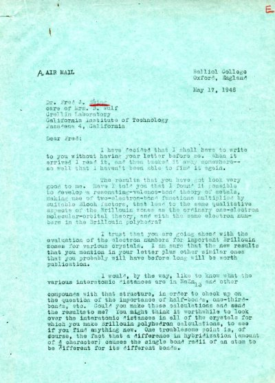 Letter from Linus Pauling to Fred Ewing. Page 1. May 17, 1948
