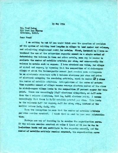 Letter from Linus Pauling to Fred Ewing.Page 1. May 19, 1954