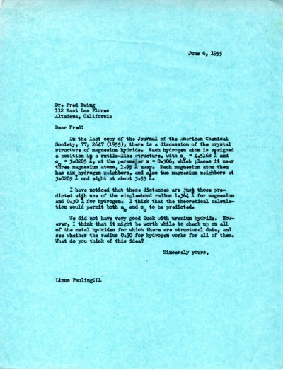 Letter from Linus Pauling to Fred Ewing. Page 1. June 6, 1955