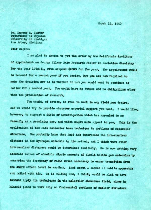 Letter from Linus Pauling to Eugene Eyster.Page 1. March 19, 1940