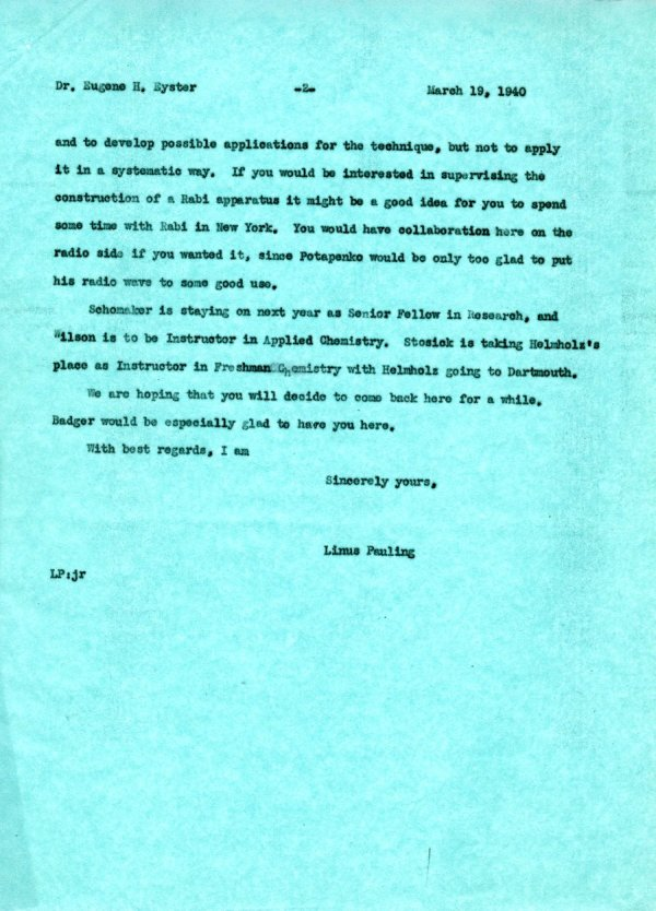 Letter from Linus Pauling to Eugene Eyster.Page 2. March 19, 1940