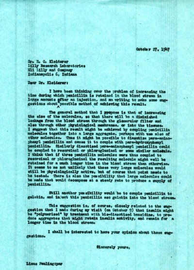 Letter from Linus Pauling to E.C. Kleiderer. Page 1. October 27, 1947