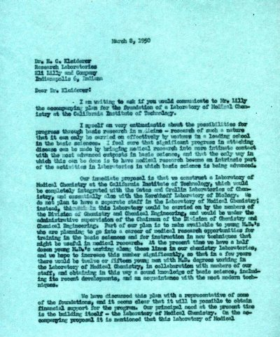 Letter from Linus Pauling to E.C. Kleiderer, Eli Lilly and Co. Page 1. March 8, 1950