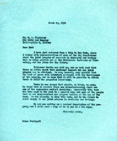 Letter from Linus Pauling to E.C. Kleiderer, Eli Lilly and Co. Page 1. March 23, 1950