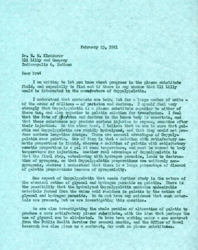 Letter from Linus Pauling to E.C. Kleiderer, Eli Lilly and Co.Page 1. February 23, 1951