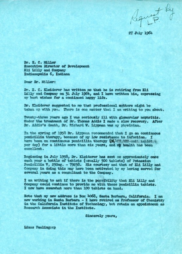Letter from Linus Pauling to H. C. Miller. Page 1. July 27, 1964