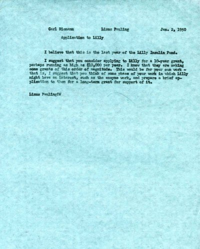 Memorandum from Linus Pauling to Carl Niemann. Page 1. January 2, 1950