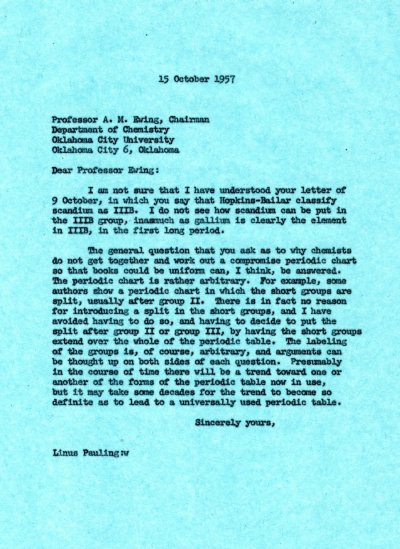 Letter from Linus Pauling to A.M. Ewing Page 1. October 15, 1957