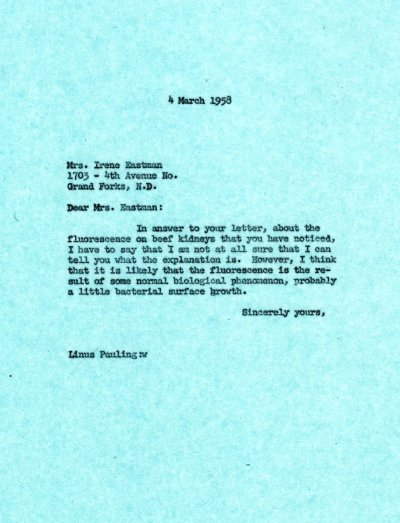 Letter from Linus Pauling to Irene EastmanPage 1. March 4, 1958