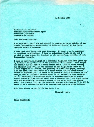 Letter from Linus Pauling to Arne Engström Page 1. December 21, 1959