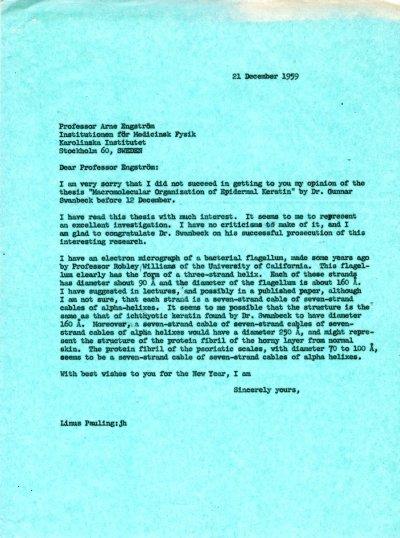 Letter from Linus Pauling to Arne EngströmPage 1. December 21, 1959