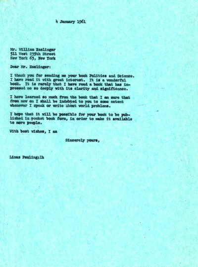 Letter from Linus Pauling to William Esslinger. Page 1. January 4, 1961
