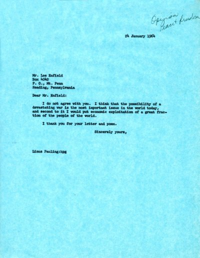 Letter from Linus Pauling to Lee Enfield. Page 1. January 24, 1964