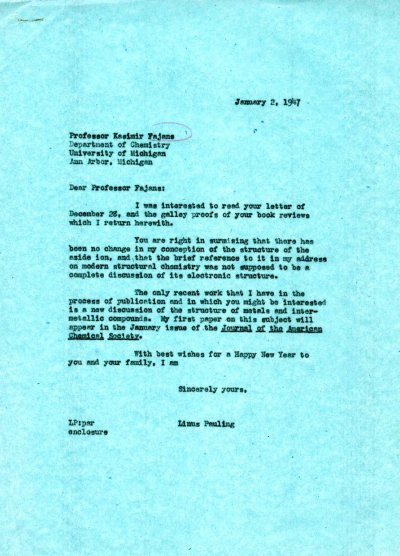 Letter from Linus Pauling to Kasimir Fajans. Page 1. January 2, 1947