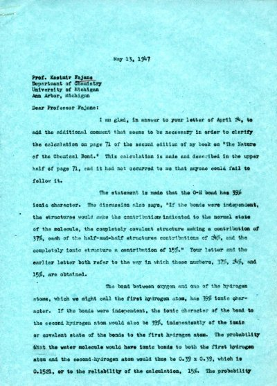 Letter from Linus Pauling to Kasimir Fajans. Page 1. May 13, 1947