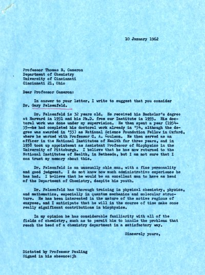 Letter from Linus Pauling to Thomas B. Cameron Page 1. January 10, 1962