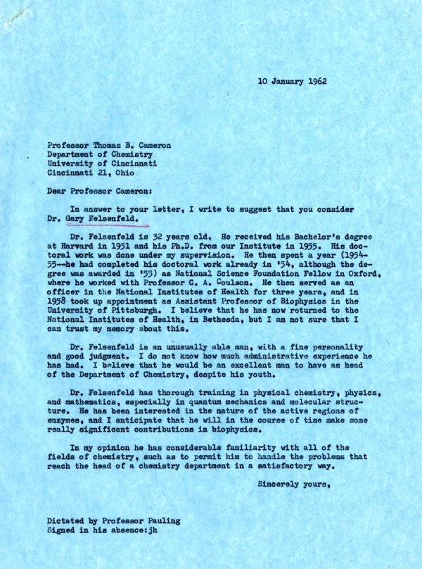 Letter from Linus Pauling to Thomas B. CameronPage 1. January 10, 1962