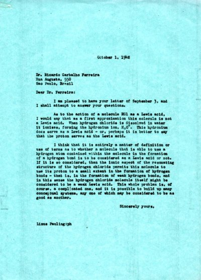 Letter from Linus Pauling to Ricardo Ferreira. Page 1. October 1, 1948