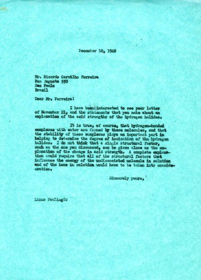 Letter from Linus Pauling to Ricardo Ferreira. Page 1. December 10, 1948