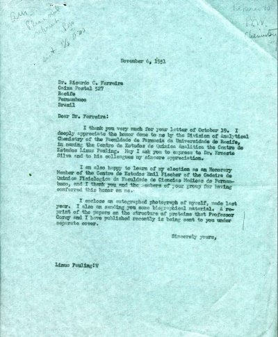 Letter from Linus Pauling to Ricardo Ferreira.Page 1. November 6, 1951