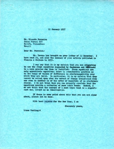 Letter from Linus Pauling to Ricardo Ferreira. Page 1. January 11, 1957