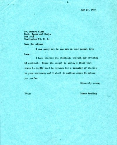 Letter from Linus Pauling to Hubert Alyea.Page 1. May 17, 1945