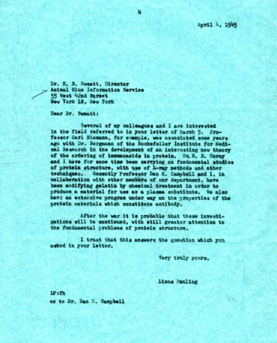 Letter from Linus Pauling to H.B. Sweatt. Page 1. April 4, 1945