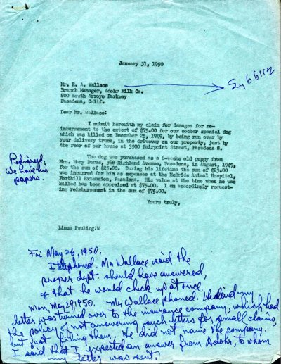 Letter from Linus Pauling to R.A. Wallace, Adhor Milk Co. Page 1. January 31, 1950